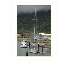 Misty Morning Boat Habour Art Print