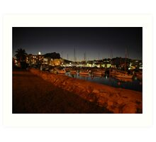 Night Lights On the harbour Art Print