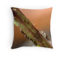 Commuting aphids Throw Pillow