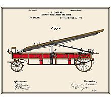 Vintage Firetruck Patent - Colour Photographic Print