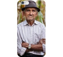 Old man at corn harvest iPhone Case/Skin