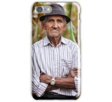 Old man at corn harvest iPhone Case/Skin