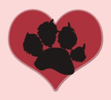 Paw Print on Heart 2: Red and Black Kids Clothes