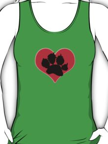 Paw Print Heart 2: Red and Black T-Shirt