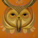 orange owl totem by resonanteye