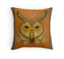 orange owl totem Throw Pillow