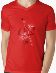 Black Swallows With Red Chinese Heart and White Blooms Mens V-Neck T-Shirt