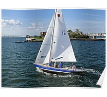 Blue sailboat leaving the Newport Harbor | Bay series 2008 Poster