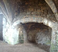 Egglestone Abbeys Vaulted ceiling.and fireplace by hilarydougill