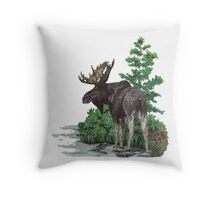 Moose watercolor  Throw Pillow