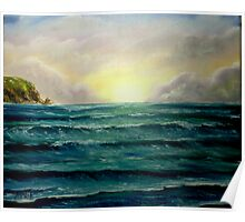 """""""Sunrise over the Cliffs"""" - oil painting Poster"""