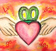 Irish Valentine Wedding Anniversary, Claddagh oil pastel card With Love Forever by Gingercrafts