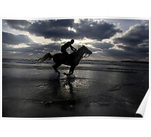Silhouette of a man riding a horse on the beach  Poster