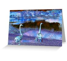 Purple Swan Family Greeting Card