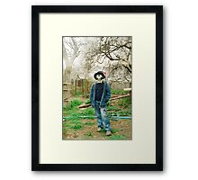 Gas Mask Boy Framed Print