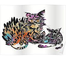 Three colored cats Poster