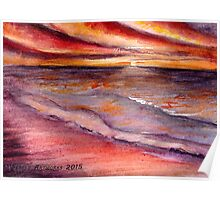 Sunset on the sea - Watercolours painting Poster