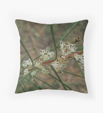 Small white grevillea blossoms Throw Pillow