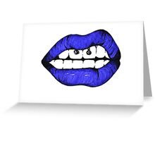 Blue lips Greeting Card