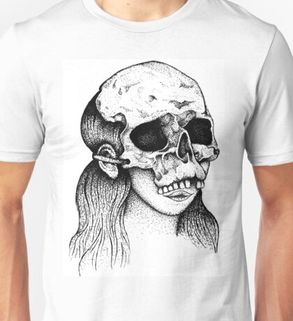 Dotwork Skull Girl White Unisex T-Shirt