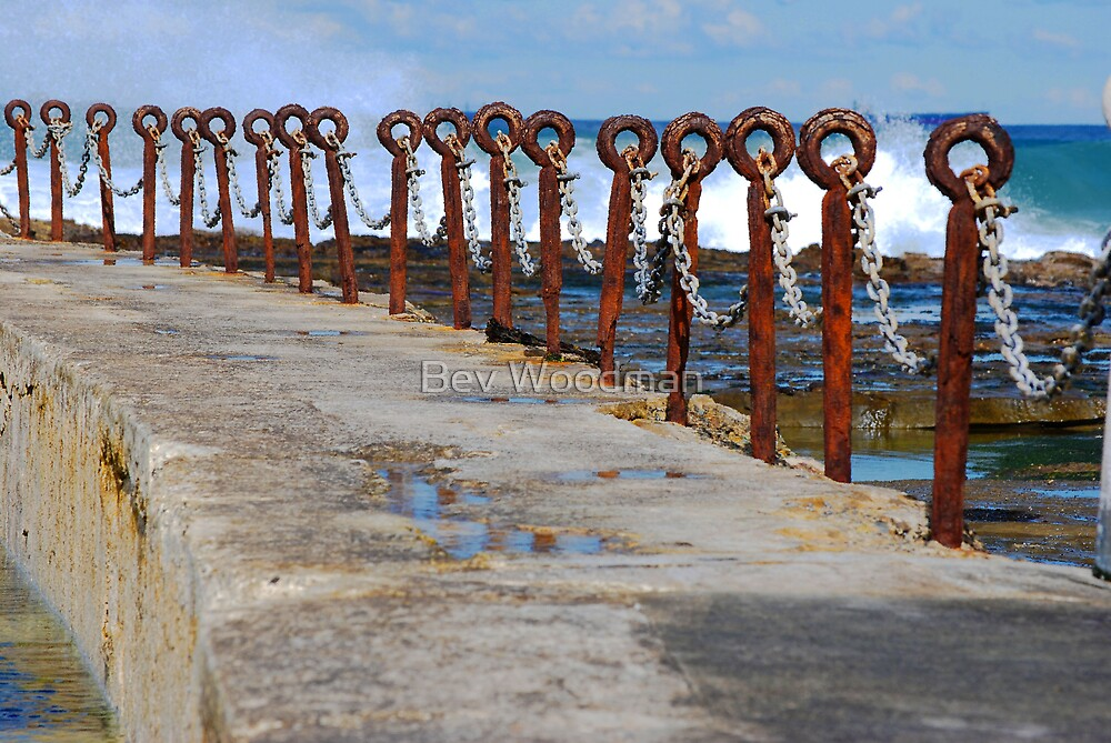 Rusty Chain Fence - Canoe Pool, Newcastle Beach NSW by Bev Woodman