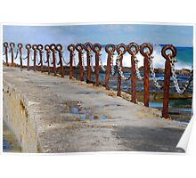 Rusty Chain Fence - Canoe Pool, Newcastle Beach NSW Poster