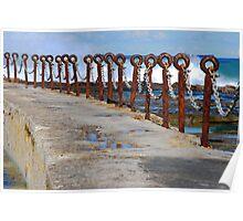 Rusty Chain Fence - Canoe Pool, Newcastle Beach NSW Poster