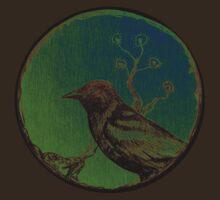 Sakura Crow TrickyMicky Retro Asian Bird by RenaeMackay