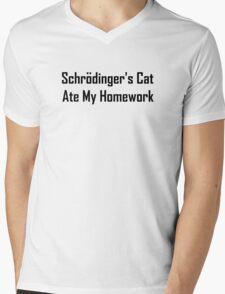 Schrodinger's Cat Ate My Homework Mens V-Neck T-Shirt