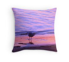 Purple-Orange Seagull Sunset Throw Pillow