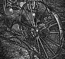 Wagon Wheel Harvest On The Farm Monochrome Black and White by Adri Turner