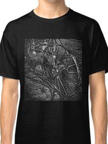 Wagon Wheel Harvest On The Farm Monochrome Black and White Classic T-Shirt