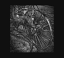 Wagon Wheel Harvest On The Farm Monochrome Black and White Unisex T-Shirt