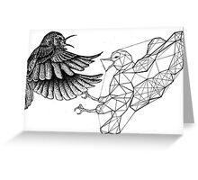 Dotwork Geometry Bird Fight Greeting Card