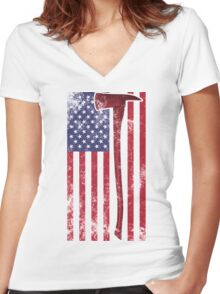 American Fire Service (white) Women's Fitted V-Neck T-Shirt