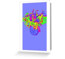 Flower - Purple, green and yellow Greeting Card