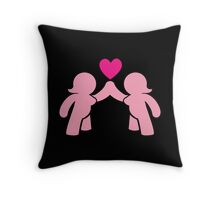 Two chubby ladies with a love heart Throw Pillow