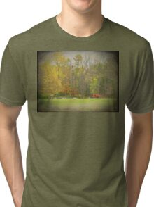 Old Time Farm Scene Tractors and Windmill Tri-blend T-Shirt
