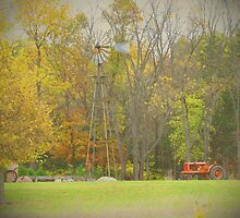 Old Time Farm Scene Tractors and Windmill by Adri Turner