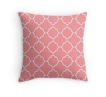 Moroccan White & Coral Throw Pillow