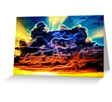 Funky Glowing Electrified Rainbow Clouds Abstract Greeting Card