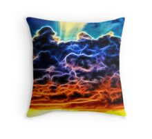 Funky Glowing Electrified Rainbow Clouds Abstract Throw Pillow