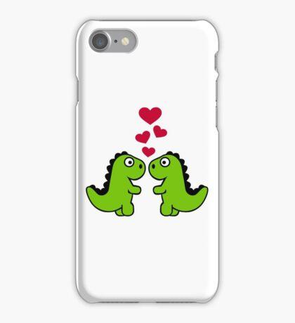 Dinosaur red hearts love iPhone Case/Skin