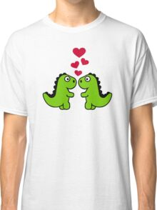 Dinosaur red hearts love Classic T-Shirt