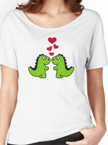 Dinosaur red hearts love Women's Relaxed Fit T-Shirt