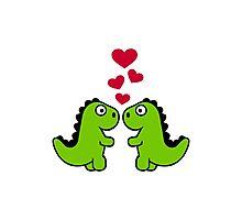 Dinosaur red hearts love Photographic Print