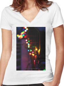 Christmas Lights & Snow Women's Fitted V-Neck T-Shirt