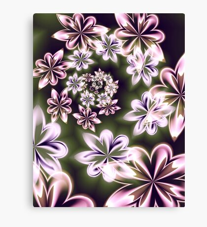 Flowers in Neon Canvas Print
