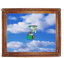 squidward in the hat box in the sky in the picture frame by MemeDog