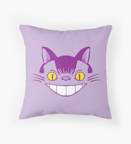 The Cheshire Cat Bus Throw Pillow